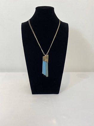 Costume gold & blue tassel Necklace