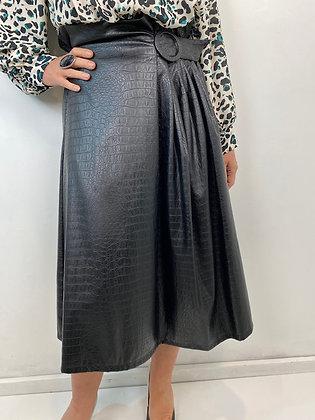 Mock croc faux leather high waisted A-Line Skirt
