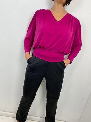 Cerise Pink V Neck T-Bar tie back Top