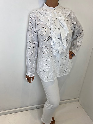 White Embroidery Anglaise Frill Blouse