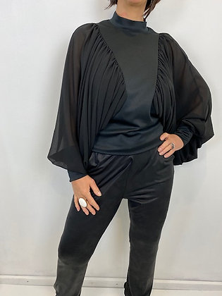 Black Batwing Top with Ruched Detailing