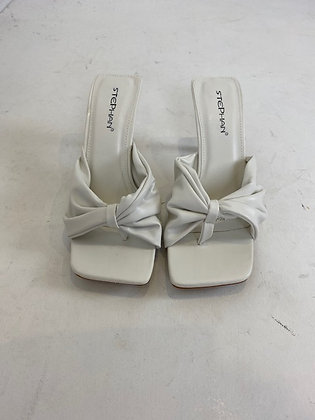 White Mid Heel Mules
