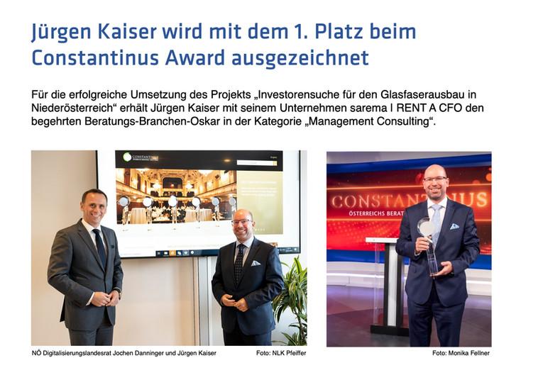 Constantinus Award an sarema | RENT A CFO
