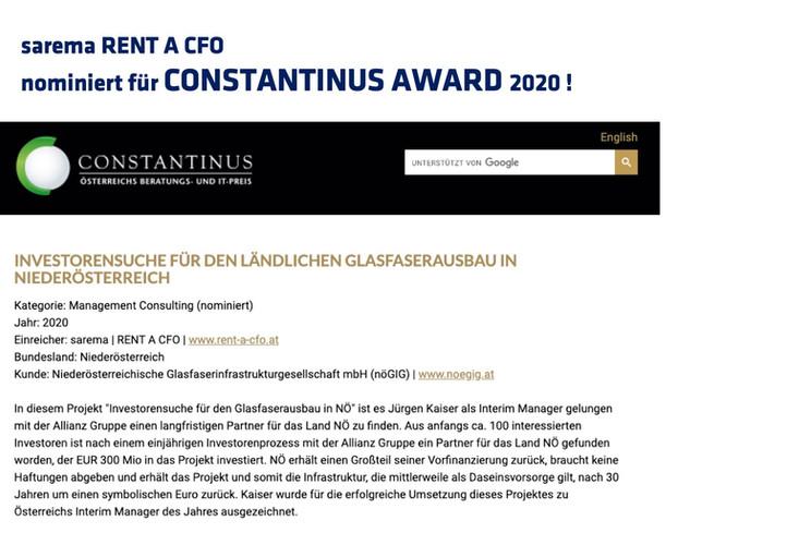 sarema nominiert für Constantinus Award 2020