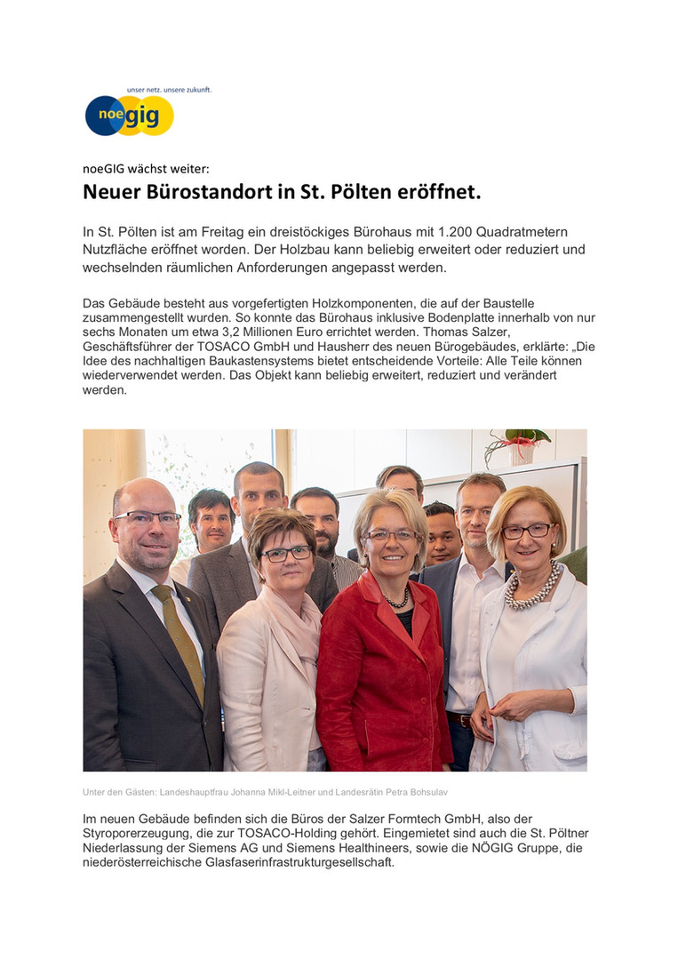 nöGIG wächst weiter - Neuer Bürostandort in St. Pölten eröffnet
