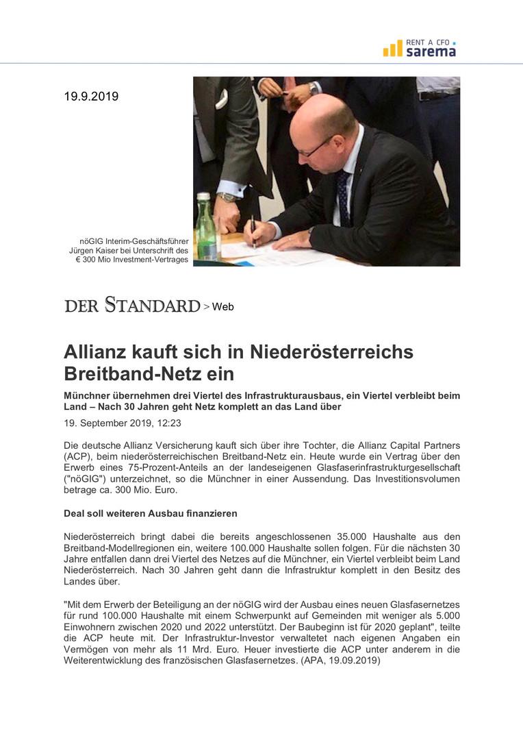 Allianz kauft sich in NÖ Breitband Netz ein