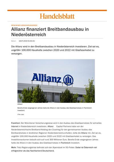 Allianz finanziert Breitbandausbau in Niederösterreich