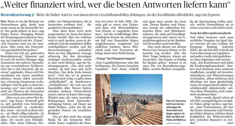 DiePresse Interview mit Jürgen Kaiser, sarema   RENT A CFO