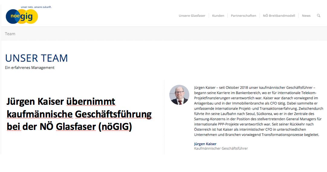 Jürgen Kaiser übernimmt kaufmännische Geschäftsführung bei der NÖ Glasfaser (nöGIG)