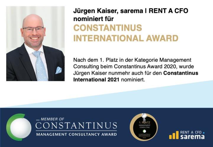 Jürgen Kaiser für CONSTANTINUS INTERNATINAL 2021 nominiert!