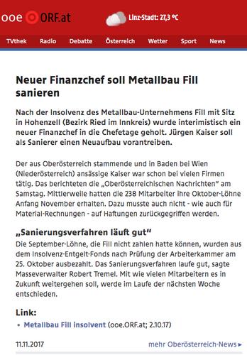 Neuer Finanzchef soll Metallbau Fill sanieren