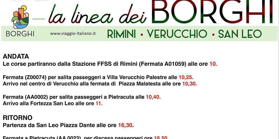 La linea dei BORGHI collega Verucchio e San Leo con la stazione di Rimini.