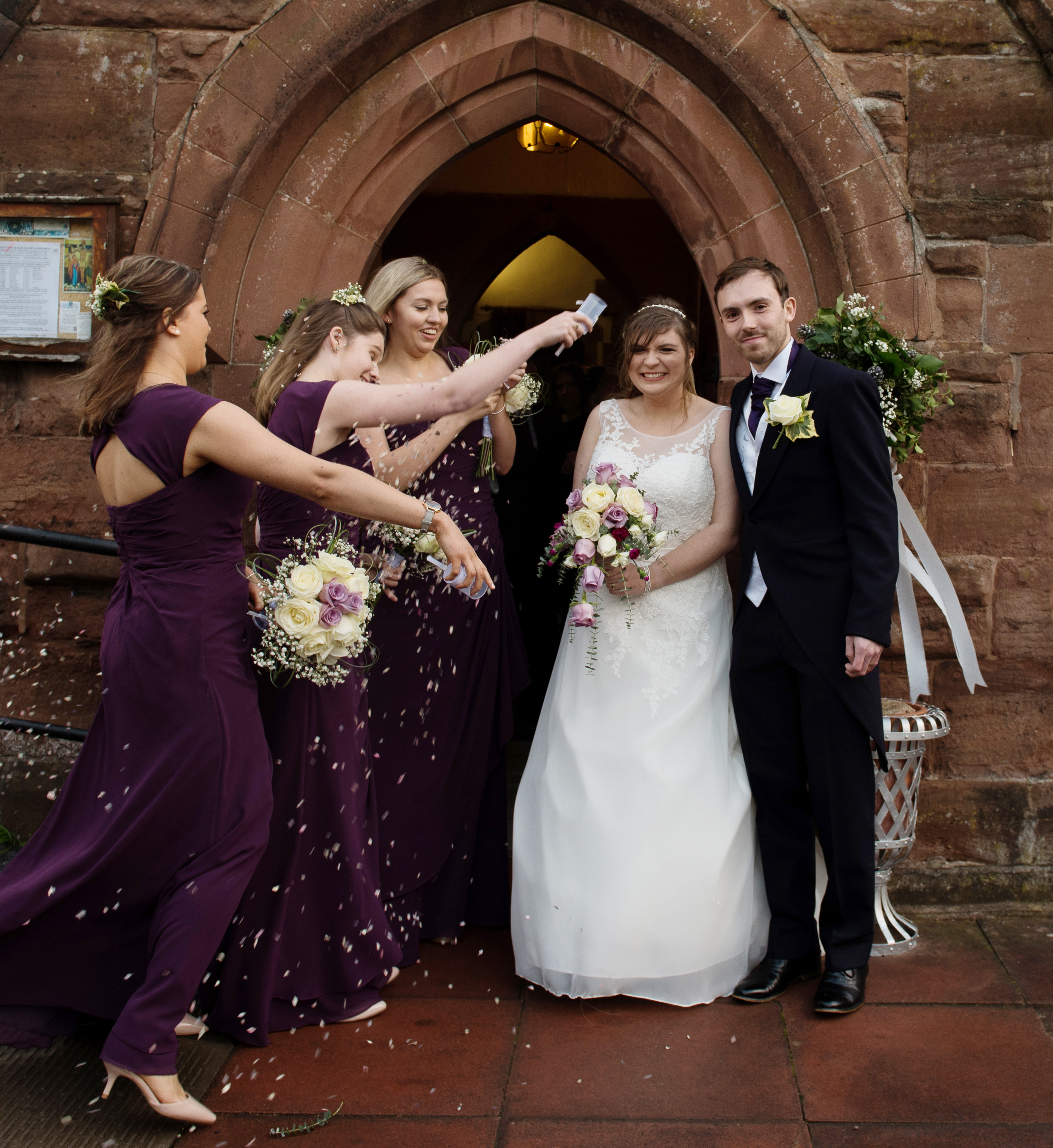 Jess, Tom and the bridesmaids