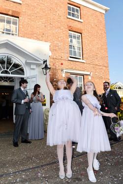 Bridesmaids and confetti