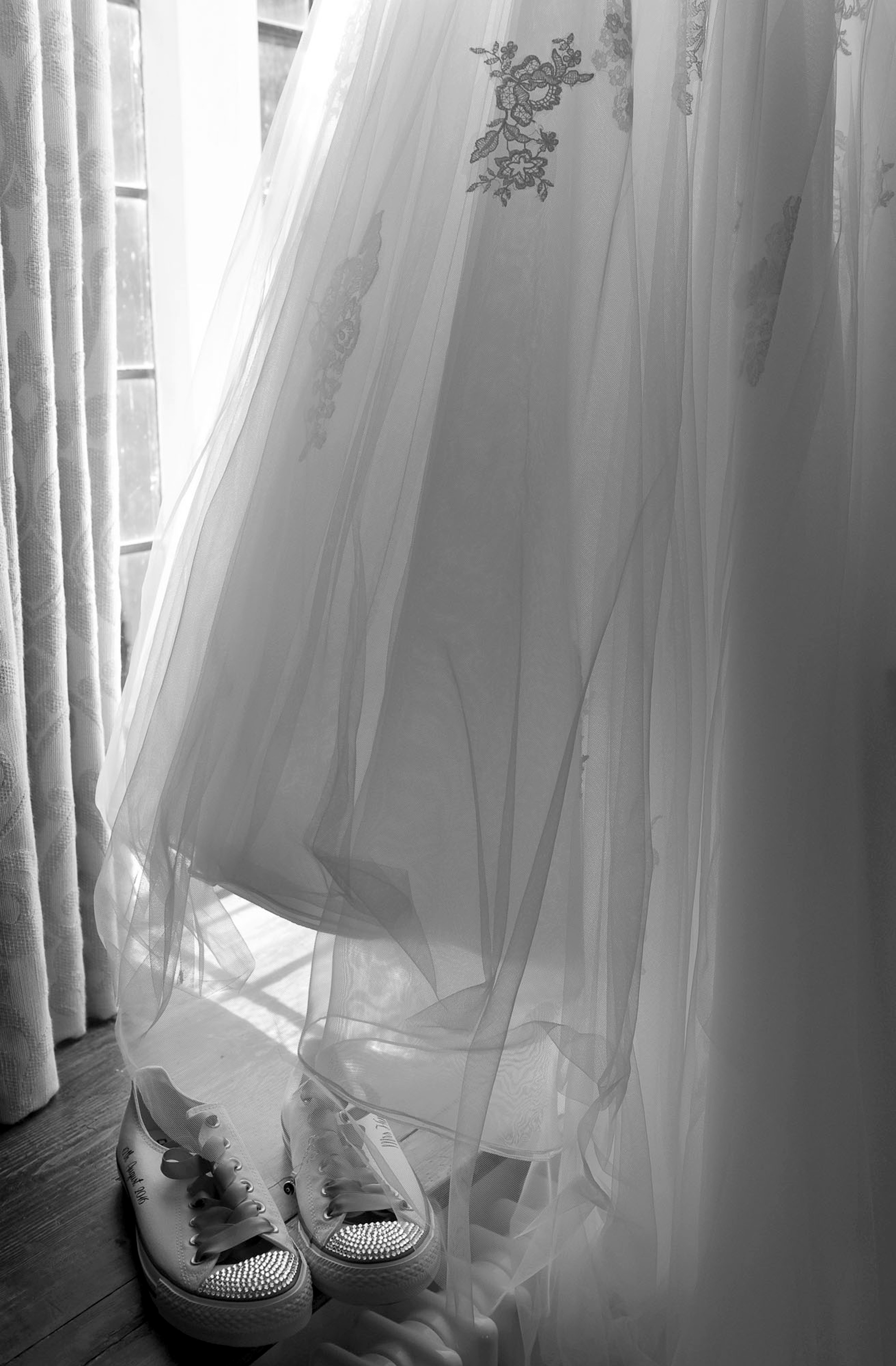 Wedding dress and converse pumps