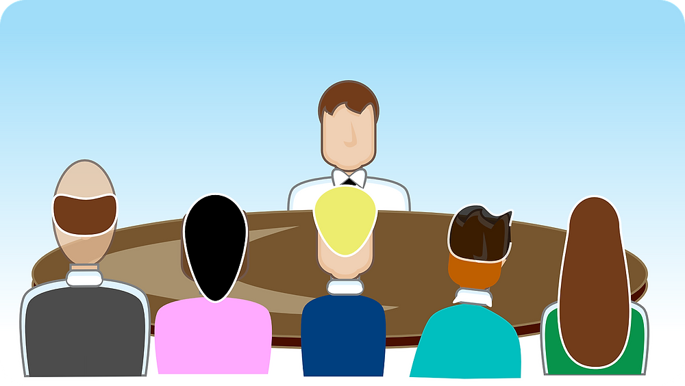 Illustration of one person having a job interview with a panel