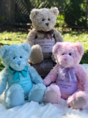 Teddy bear Urn with Enclosed Satin Bag