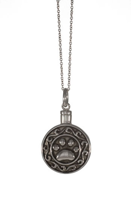 Paw Print in Circle Necklace