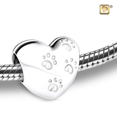 Treasure Love Heart With Paws Bead