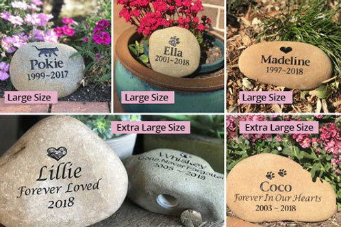 Tumbled Riverstone Pet Memorial Large