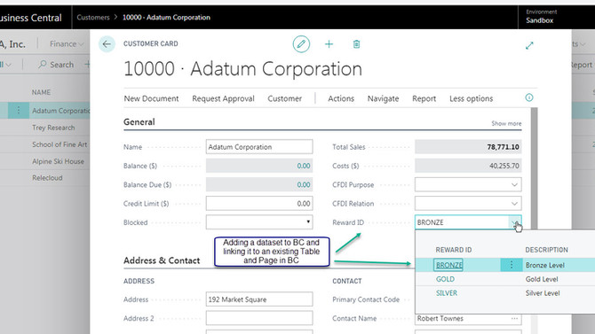 Adding a Simple Dataset to the Customer Table and Page, within Business Central