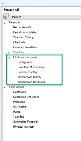 Electronic Reconcile: Menu