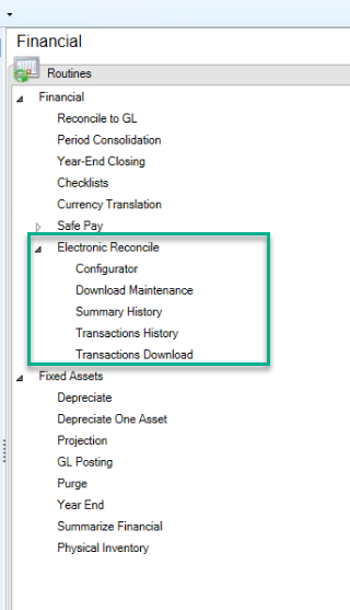 Set up Electronic Bank Reconciliation