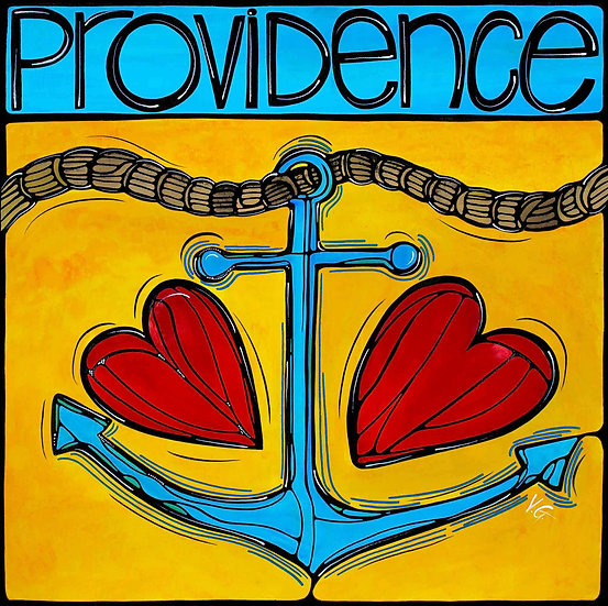 RHODE ISLAND Original Art : Providence Anchor Love RI by Artist V. Godbout