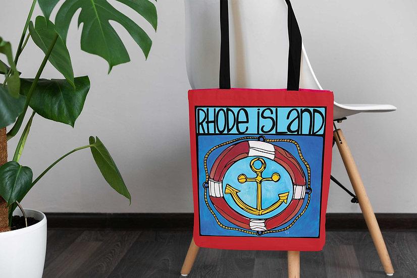 Nautical Tote Bag | Rhode Island Accessories | Blue Beach Coastal Anchor Bag |