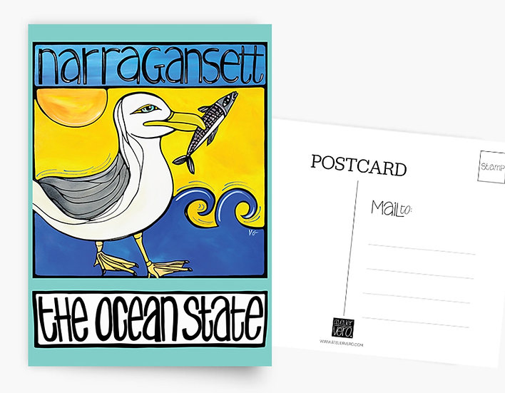 Rhode Island Postcard: Narragansett Seagull at the Beach Card