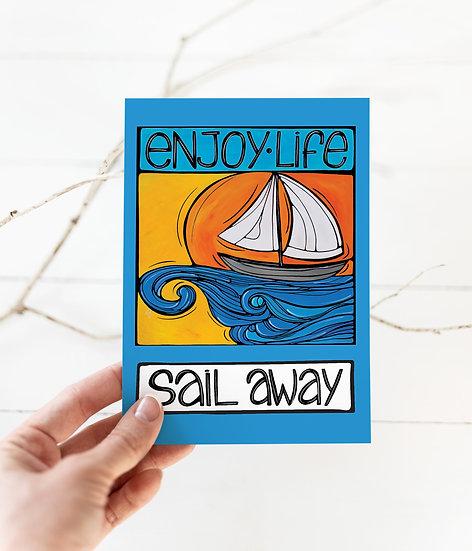 Nautical Postcard: Sailboat Coastal Card, 5x7, Fun Summer Sailing Card