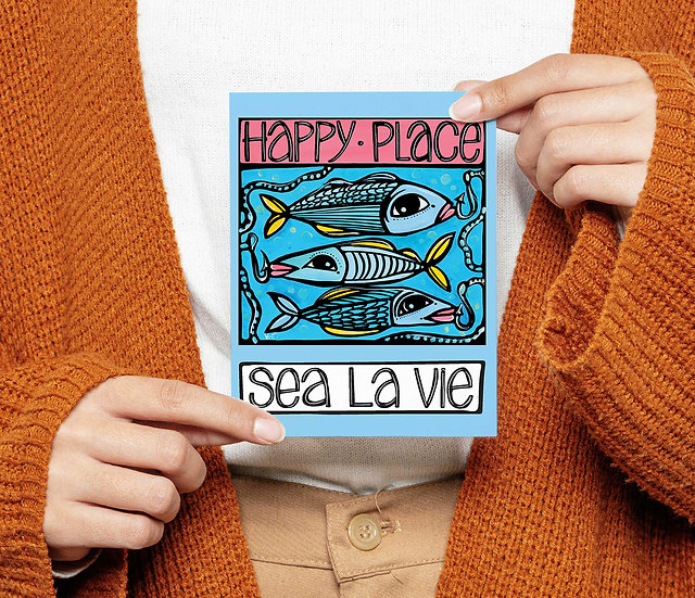 Fish Postcard: Sea, Ocean Coastal Card, 5x7, Sea la vie, Summer Postcard