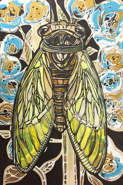 """Crescent Moon Cicada"" - 24 x 36"" - Original Painting on Canvas"