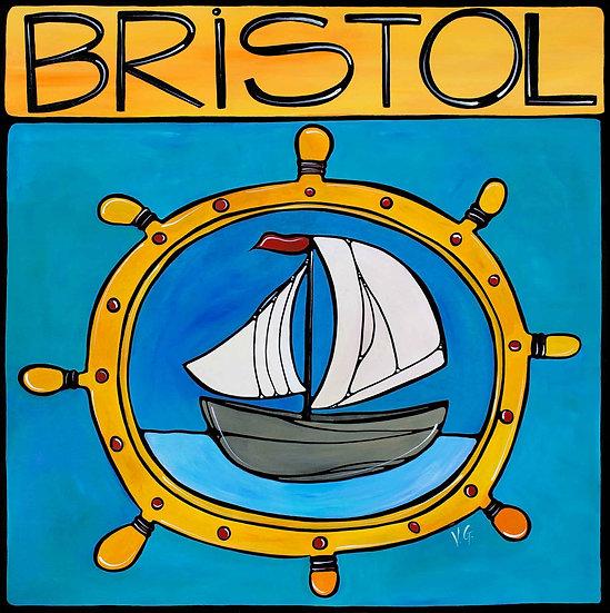 Rhode Island Art Print; Bristol RI, Nautical Sailboat.