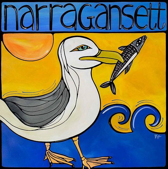 RHODE ISLAND Original Art, Narragansett: Seagull at Beach by Artist V.Godbout