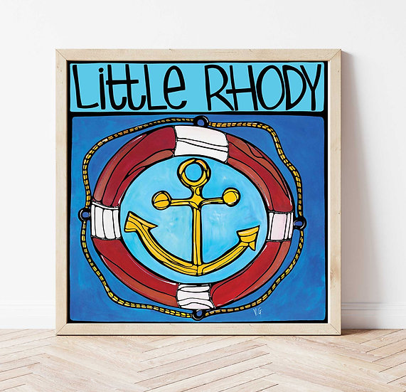 RHODE ISLAND Art Print: Blue Nautical by Artist Veronique Godbout