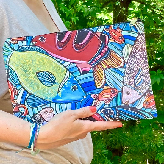 Fish Pouch with Zipper - Fish Clutch - Cosmetic Bag