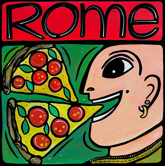 Italy Art Print; Rome, Pizza Food Illustration.