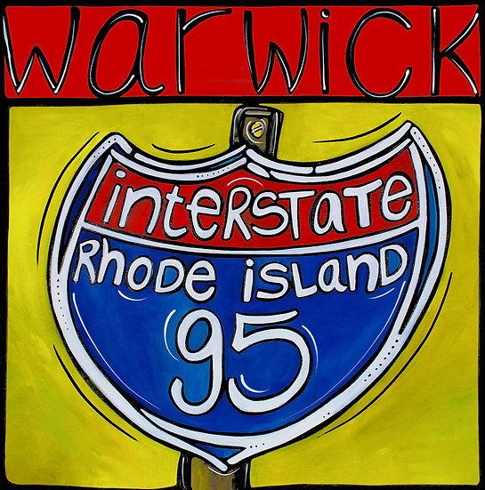 Rhode Island Art Print; Rhody Warwick RI, Interstate 95.