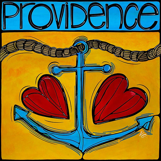 Rhode Island Art Print; Providence RI, PVD Nautical Anchor love.