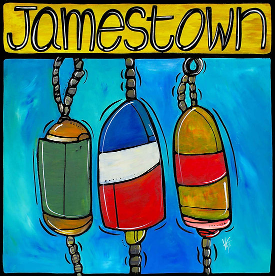 Rhode Island art Print; Jamestown RI, Nautical Buoys.