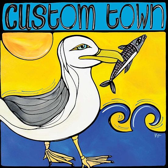 Original Coastal Painting Custom City, Personalized Town or City Art