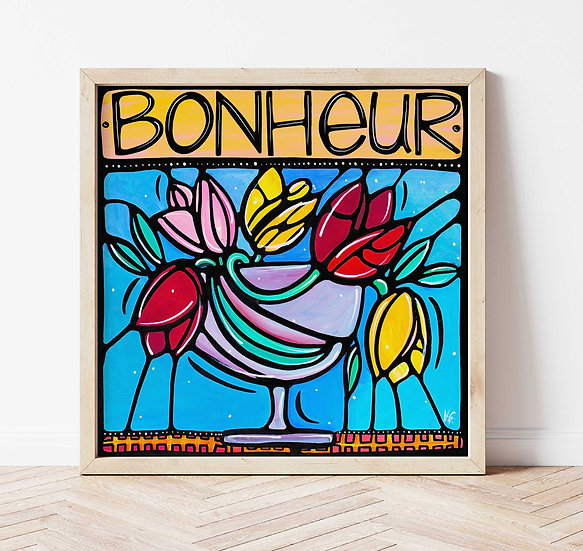 Floral Signed Art Print, French, Colorful Flowers Artwork.