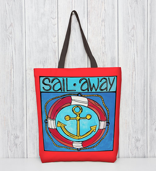 Nautical Tote Bag   Anchor Boating Gift   Blue Polyester Tote Bag  