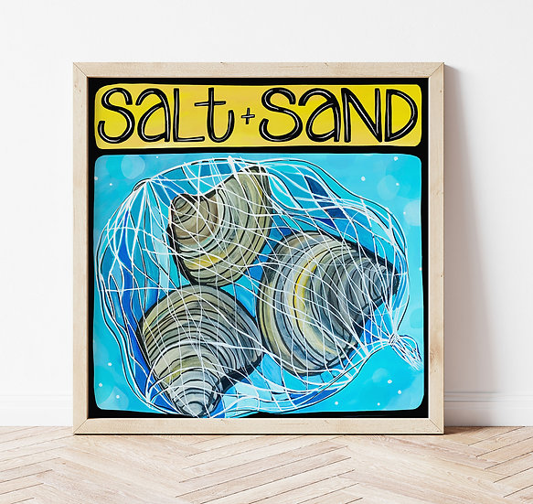 Clams Art Print, Signed Coastal Wall Artwork, Fun Sea Shells