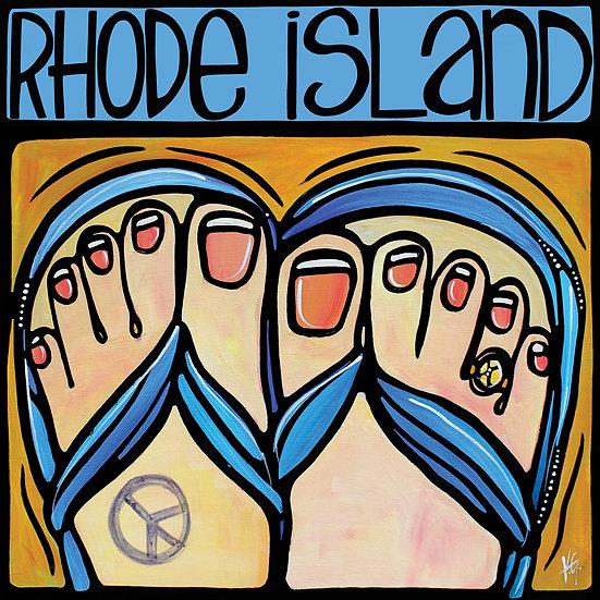 RHODE ISLAND Art Print: Flip Flop in Sand by Artist V. Godbout, Beach Art