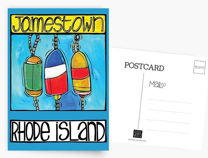 Rhode Island Postcard: Jamestown Nautical Buoys Card by Artist Veronique Godbout
