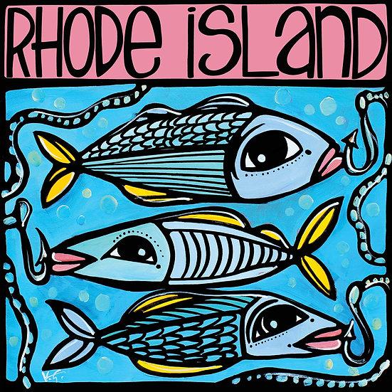 RHODE ISLAND Art Print: Fish in the Sea by Artist V. Godbout, Coastal Art