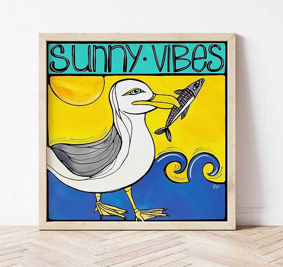 Seagulls Beach Print, Fun Ocean Wall Art, Happy Coastal Artwork, Beach House.