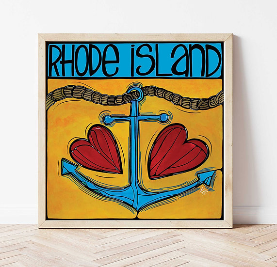 RHODE ISLAND Art Print: Anchor Love by Artist Veronique Godb